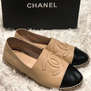Chanel Black /Beige Lamb Skin Espadrilles